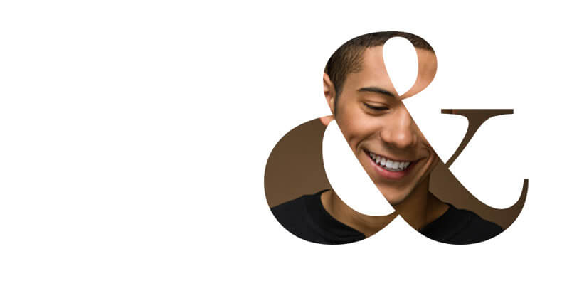 Ampersand graphic with smiling man