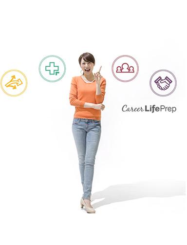Women Pointing to Career Life Prep Icons