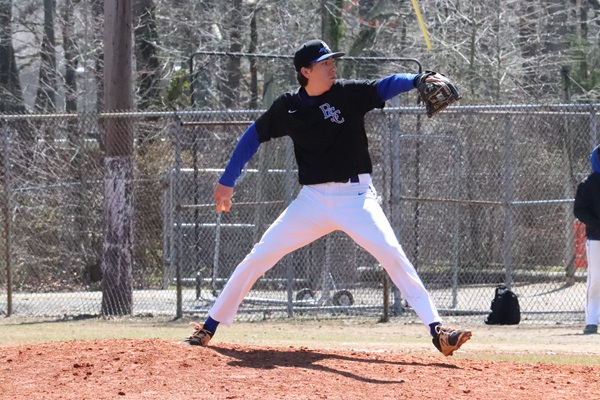 Bobcats pitcher Shane Davis in action with Bryant & Stratton College.