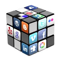 Rubiks cube with social media icons on it.