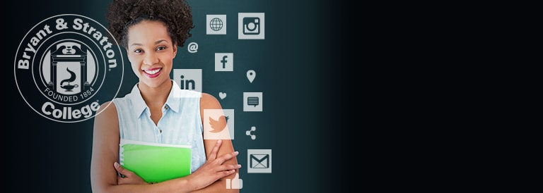 Digital Marketing student with social media icons