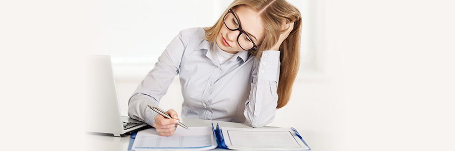 Paralegal student completing an exam