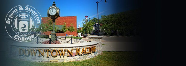 Downtown Racine sign and Bryant & Stratton College seal