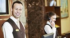 Concierge working at hotel lobby