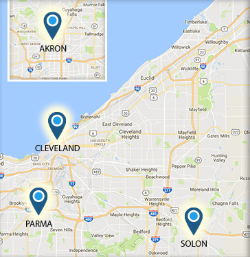 Ohio map showing Bryant & Stratton College campuses in Cleveland and Akron.