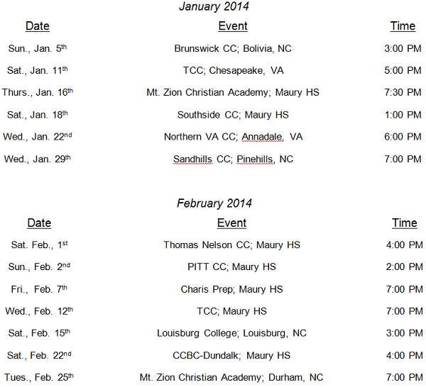 2014 Bryant and Stratton Basketball Schedule